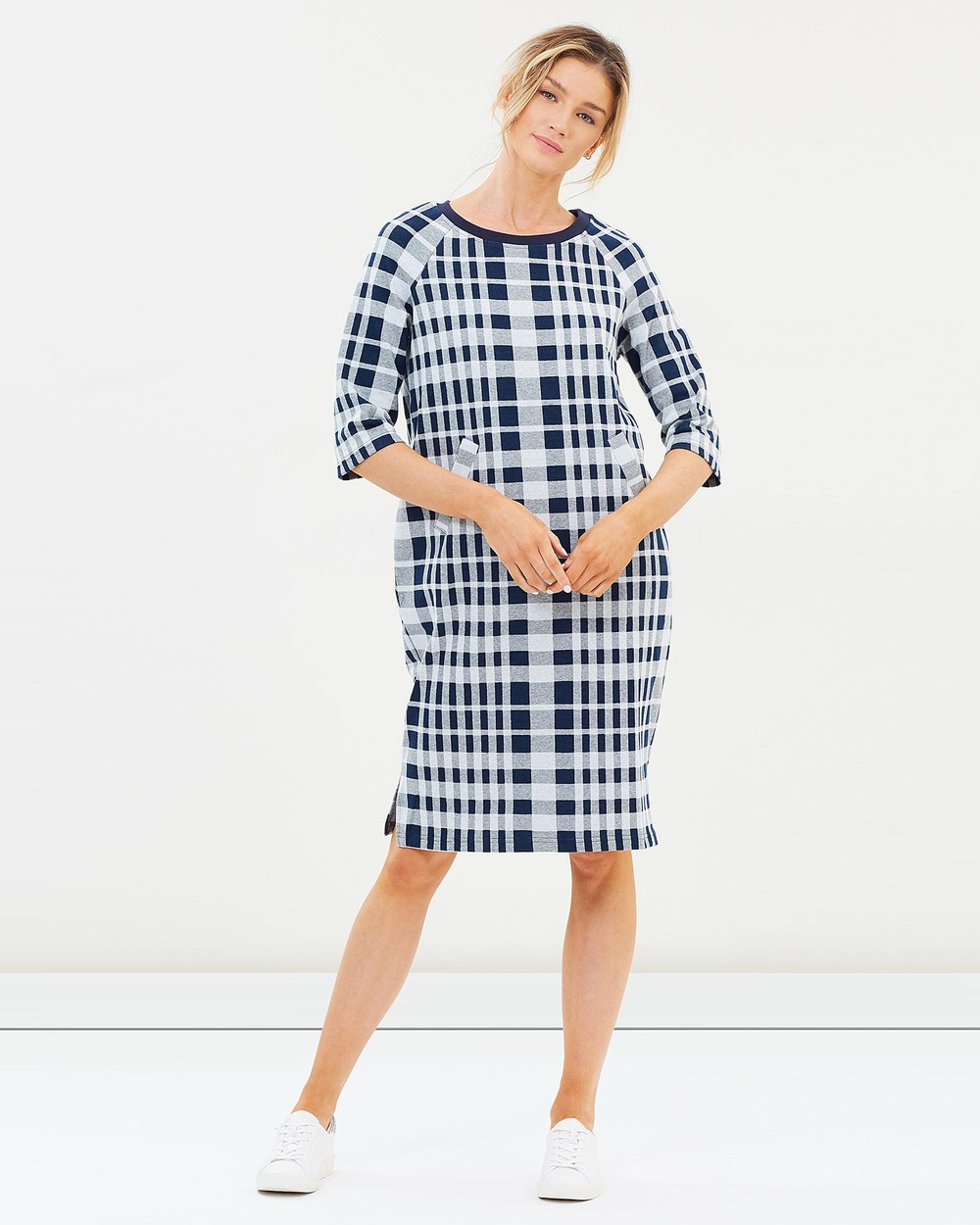 Lincoln St The Cocoon Dress Dresses Navy Check The Cocoon Dress