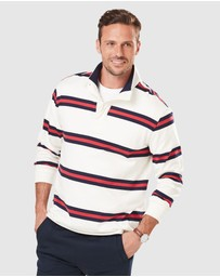 Gazman - Button Stripe Rugby Jumper