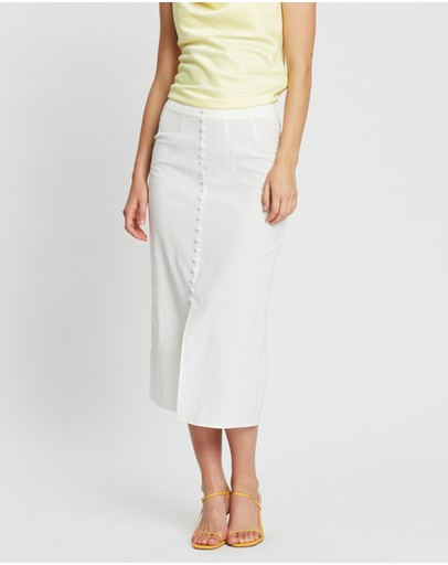 Atmos&here Brie Button-through Skirt White