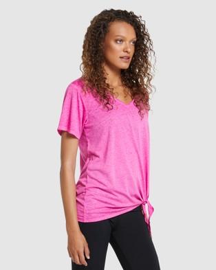 Rockwear V Neck Longline Tie Side Tee - Short Sleeve T-Shirts (SHOCKING PINK)