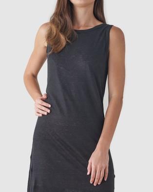 Amelius Aceline Linen Tank Dress - Dresses (Black)