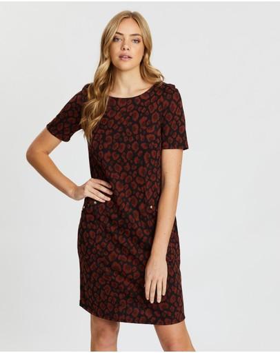Wallis Animal Stud Jacquard Shift Dress Rust