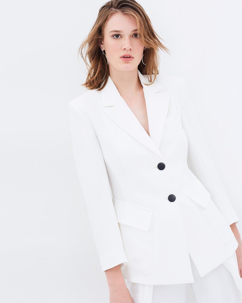 Ecru Crepe Suitor Jacket By Bianca Spender Online The Iconic Tailored With Twin Buttons Australia