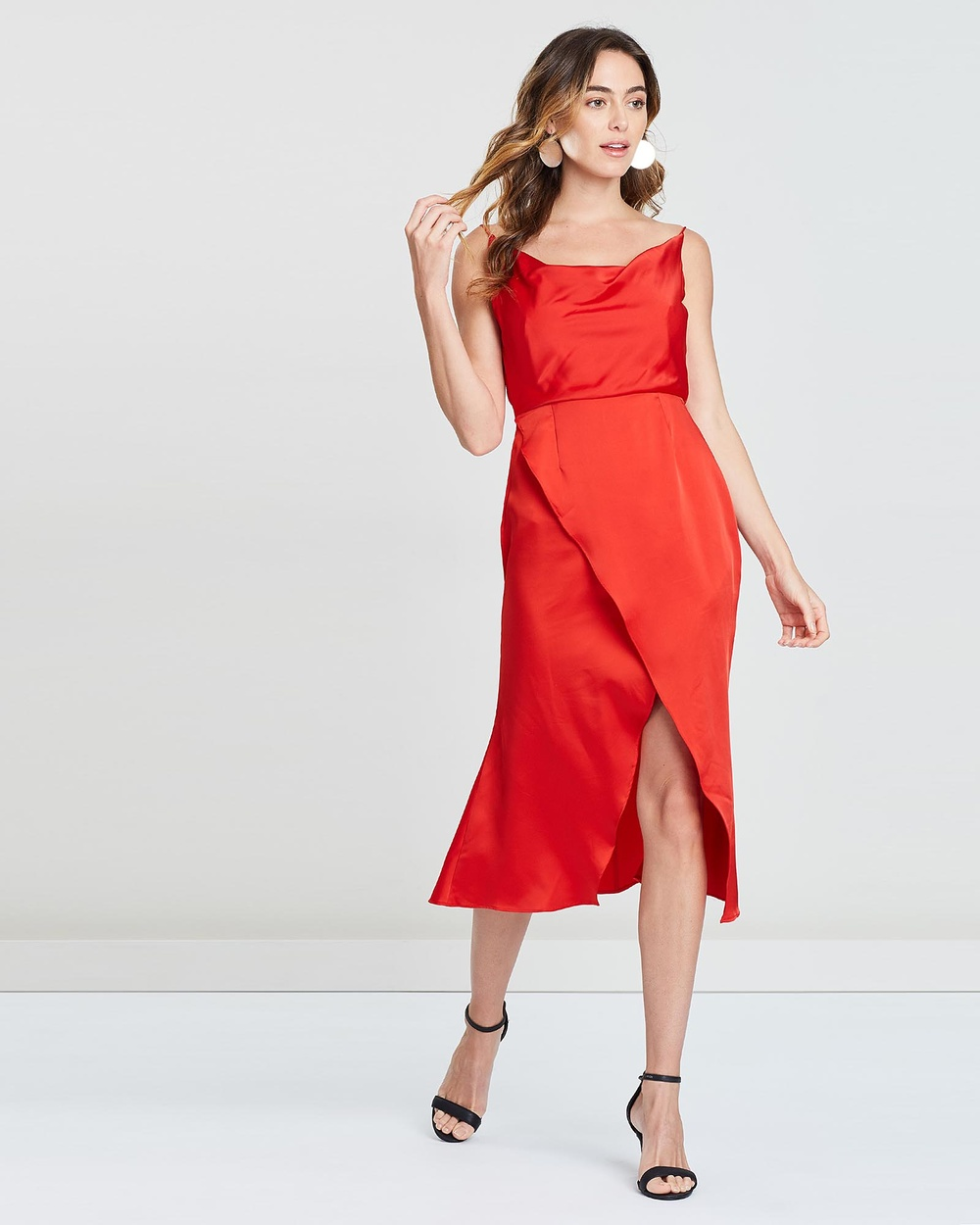 SANTINA-NICOLE Red Freya Cowl Neck Satin Dress