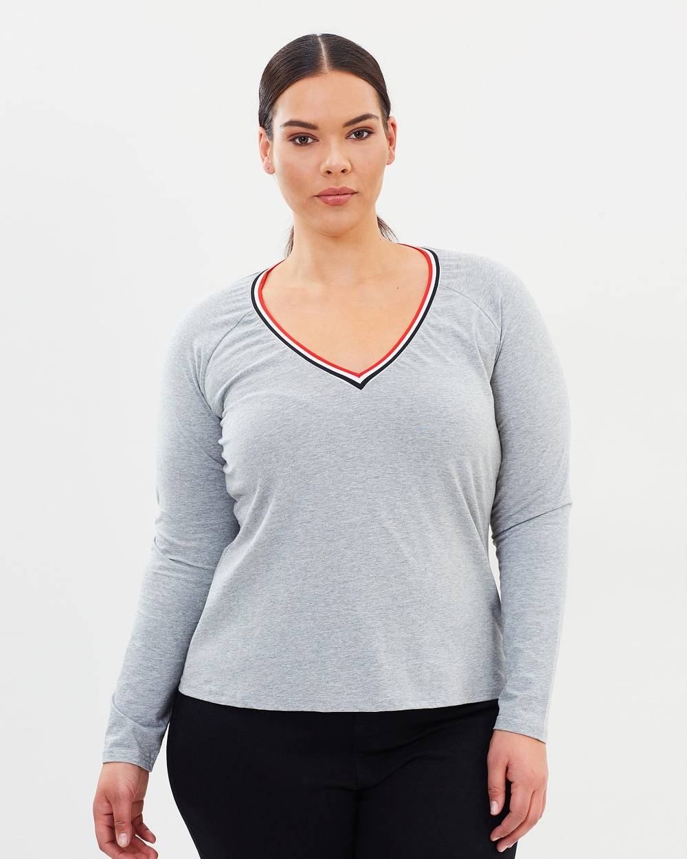 Atmos & Here Curvy ICONIC EXCLUSIVE Loriel Long Sleeve Top Tops Grey Marle ICONIC EXCLUSIVE Loriel Long Sleeve Top