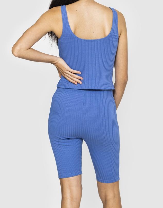 Women Amber Rib Bike Shorts - Colony Blue