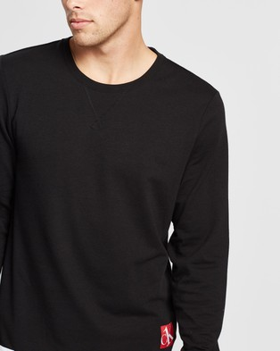 Calvin Klein One Sock Lounge Sweatshirt - Sleepwear (Black Body with American Dream Patch & Icing Logo)