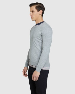 Oxford Cotton Cashmere V neck Pullover - Jumpers & Cardigans (Grey)