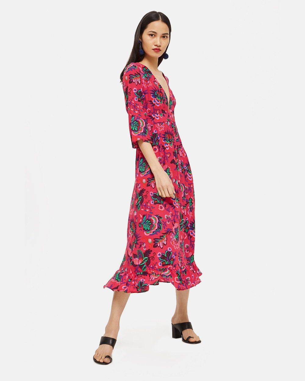 TOPSHOP Culture Print Smock Dress Printed Dresses Multi Culture Print Smock Dress