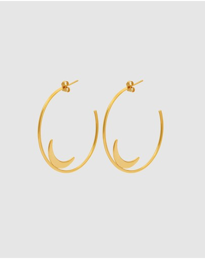 Pastiche Summer Moon Earrings Yellow Gold