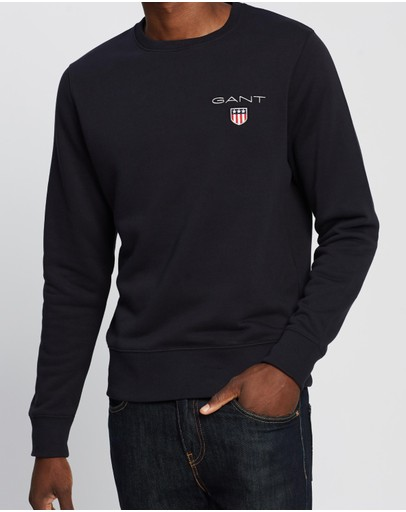 Gant Medium Shield Crew Sweater Black