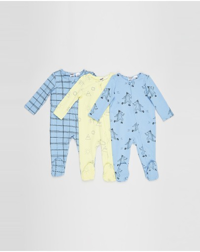 Cotton On Baby - 3-Pack Long Sleeve Zip-Through Romper - Babies
