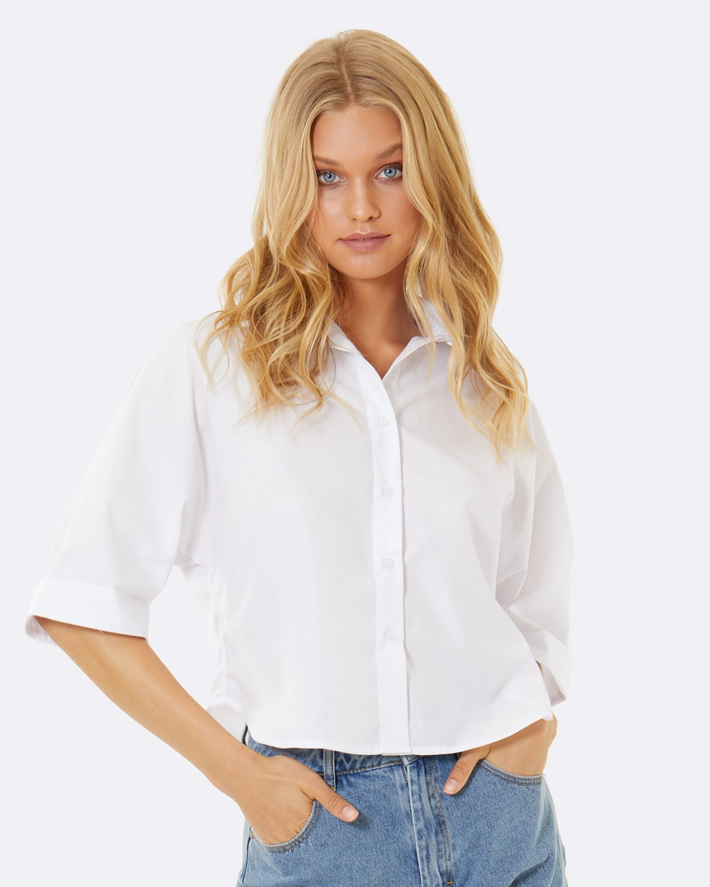 Calli Sienna Embroidered Shirt Tops White Sienna Embroidered Shirt