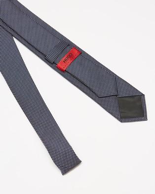 HUGO Silk 6cm Tie - Ties (Navy & Light Pastel Pink Dot)