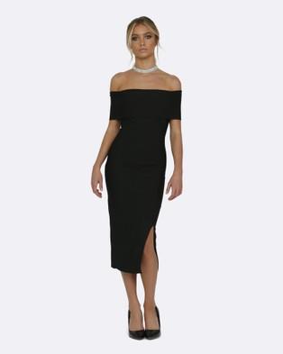Honey Couture – Sophie Black Off Shoulder Bandage Dress – Bodycon Dresses (Black)