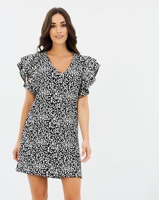Dorothy Perkins – Animal Ruffle Shift Dress – Printed Dresses Black