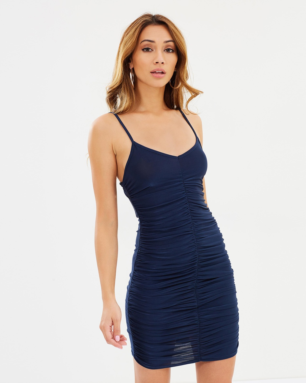 Missguided Slinky Ruched Strappy Front Mini Dress Dresses Navy Slinky Ruched Strappy Front Mini Dress