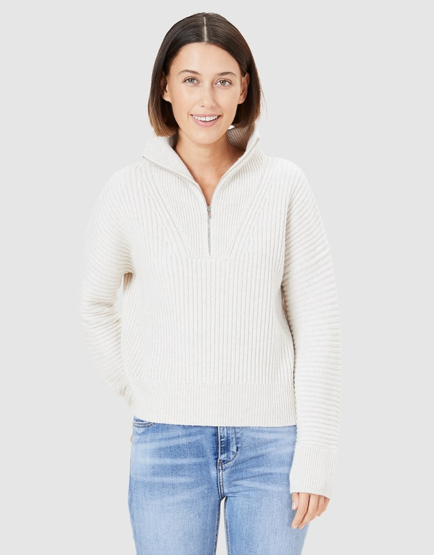 French Connection - Ribbed Half Zip Knit