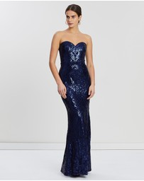 Bariano - Erma Sweetheart Pattern Sequin Gown