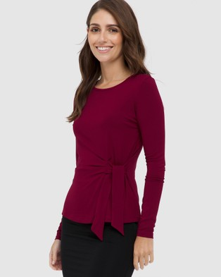 Bamboo Body - Tie Front Top Tops (Rich Red)