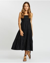 AERE - Tiered Linen Midi Dress