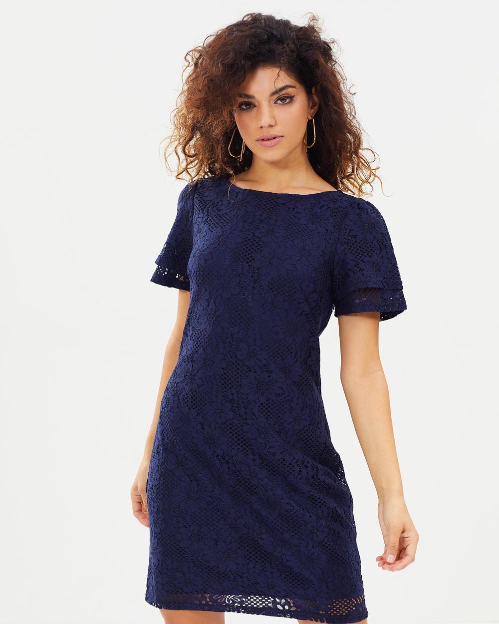 DP Petite Lace Shift Dress Dresses Navy Lace Shift Dress