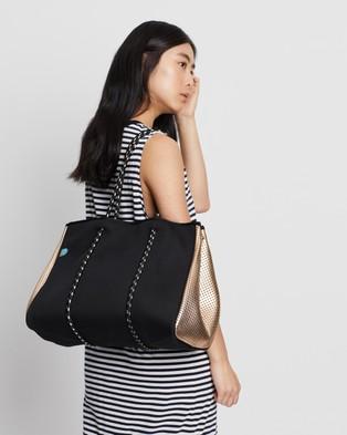 Chuchka Mikah Neoprene Tote - Beach Bags (Black & Rose Gold)