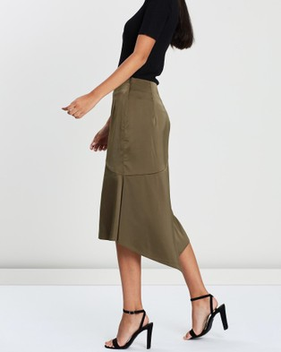FRIEND of AUDREY Penny Satin Skirt - Skirts (Martini Olive)