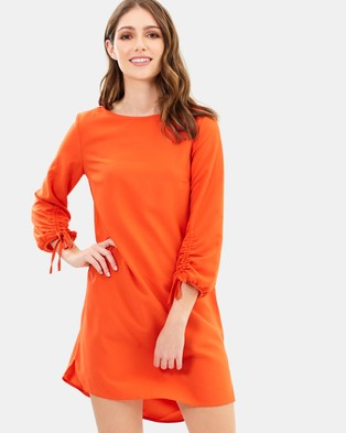 Dorothy Perkins – Ruched Sleeve Shift Dress Orange