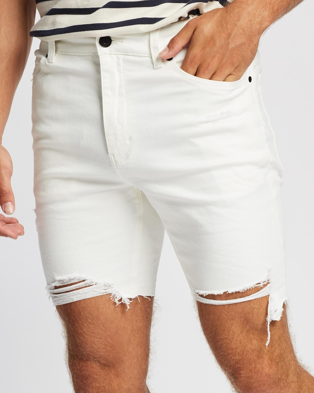 Abrand A Dropped Skinny Shorts Denim White Heat