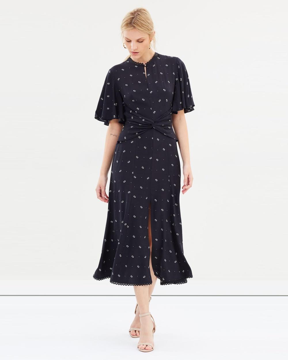 Lover Foulard Midi Dress Printed Dresses Black Foulard Midi Dress