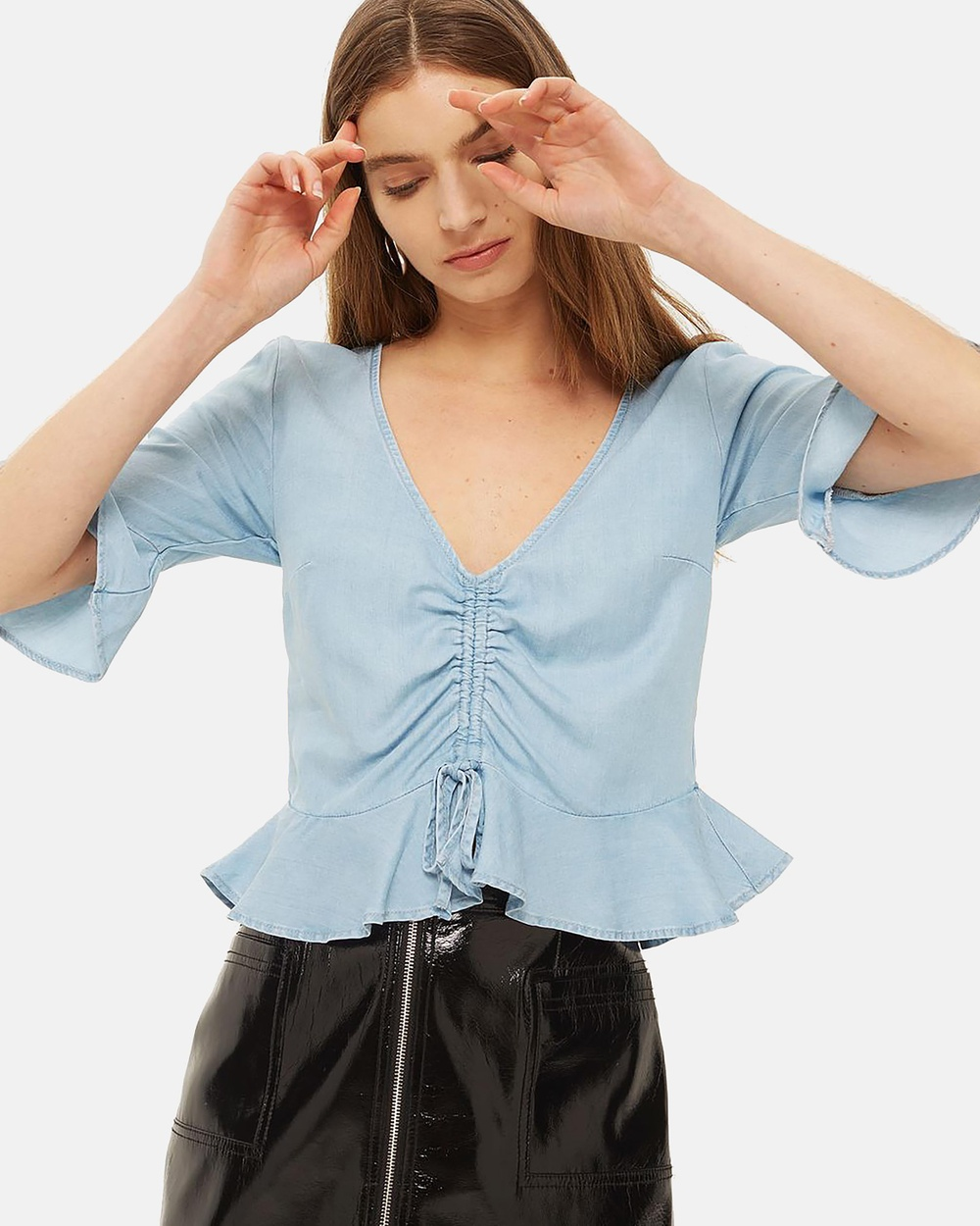 TOPSHOP MOTO Ruched Front Blouse Cropped tops Light Denim MOTO Ruched Front Blouse