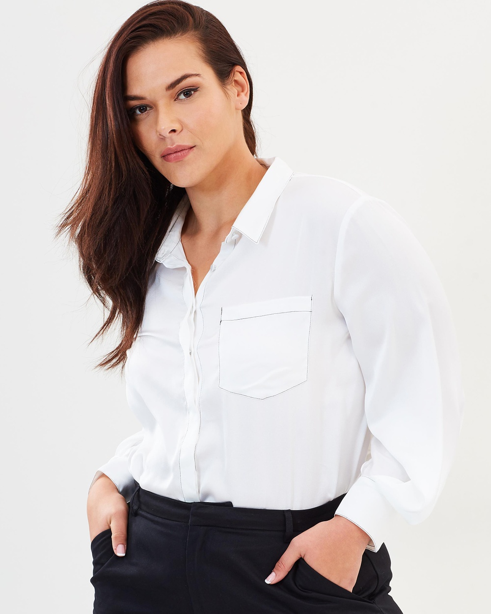 Atmos & Here Curvy ICONIC EXCLUSIVE Carla Contrast Stitched Shirt Tops White ICONIC EXCLUSIVE Carla Contrast Stitched Shirt
