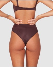 RVCA - Solid High Rise Cheeky Bikini Bottoms