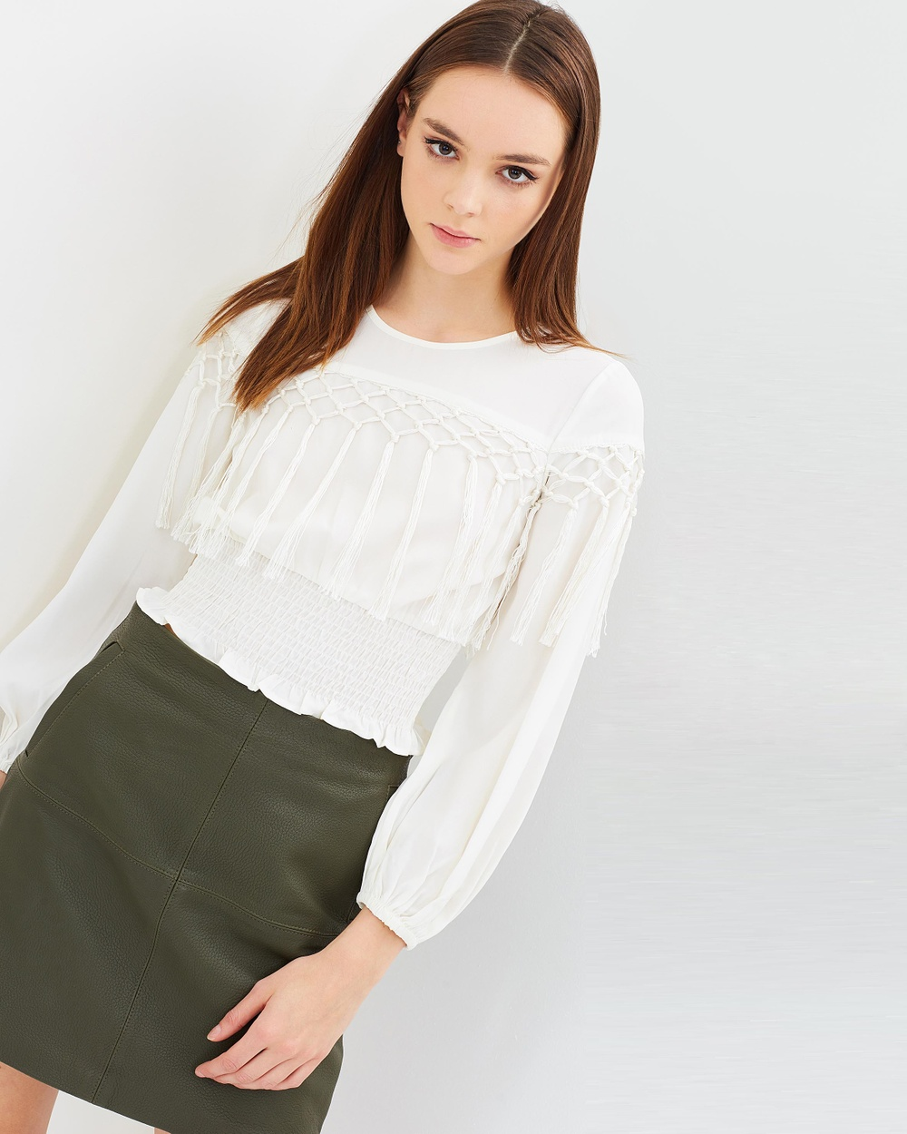Miss Selfridge Long Sleeve Tassel Top Cropped tops Cream Long Sleeve Tassel Top
