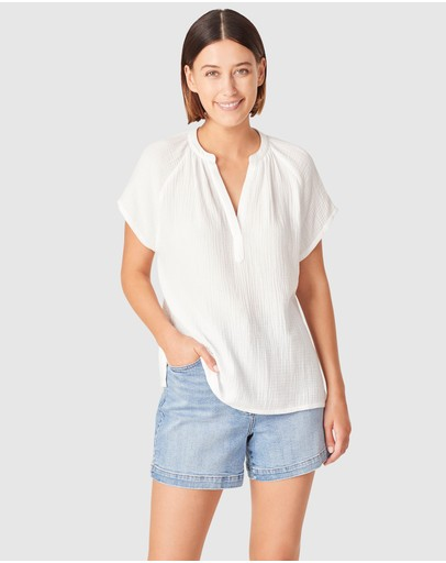 French Connection - Cotton Crinkle Popover Top