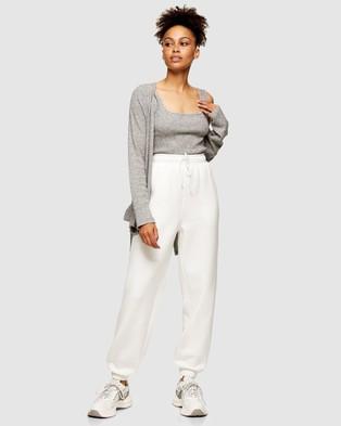 TOPSHOP Brushed Ribbed Square Neck Vest - Cropped tops (Grey)