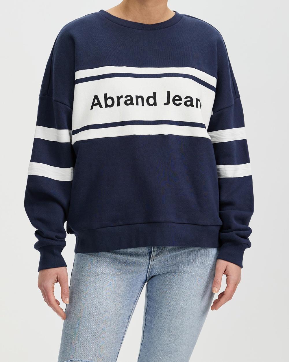 Abrand Oversized Panelled Sweater Sweats 70's Navy