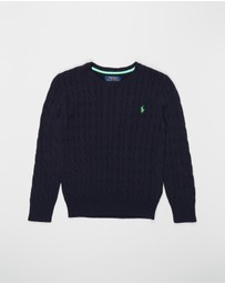 Polo Ralph Lauren - Cable Crew Neck Combed Cotton Sweater - Teens