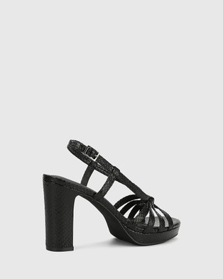 Wittner Parie Snake Print Leather Block Heel Sandals Black
