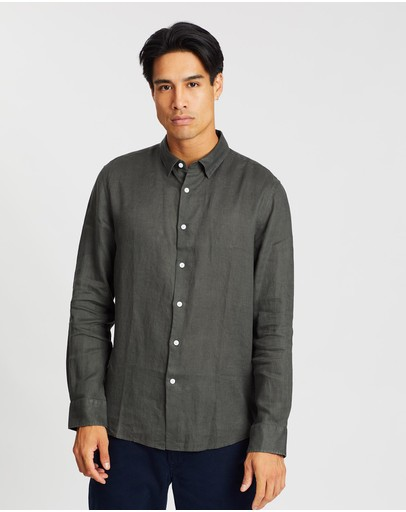 Saba Anderson Long Sleeve Classic Linen Shirt Forest