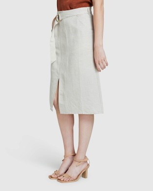 Oxford Noah Linen Skirt - Skirts (Brown)