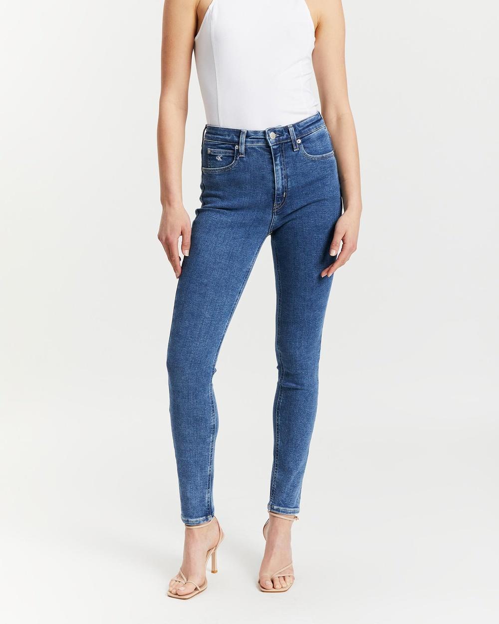 Calvin Klein High Rise Skinny Jeans High-Waisted Blue Australia