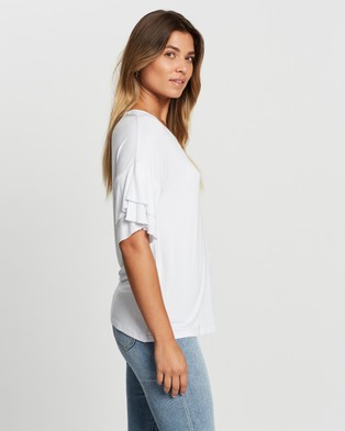 Atmos&Here Demi Flutter Sleeve Top - T-Shirts & Singlets (White)