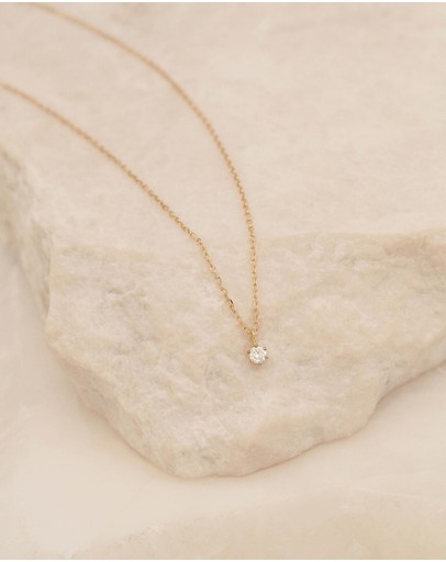 By Charlotte - Sweet Droplet 14k Gold & Diamond Necklace