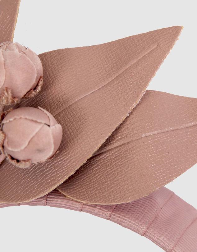 Women Taupe Leather Flowers Headband