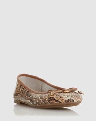 Dune London - Harpar 2 Ballet Flats (Natural Reptile)