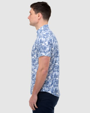 Brooksfield Leaf Print Short Sleeve Casual Shirt - Casual shirts (Blue)