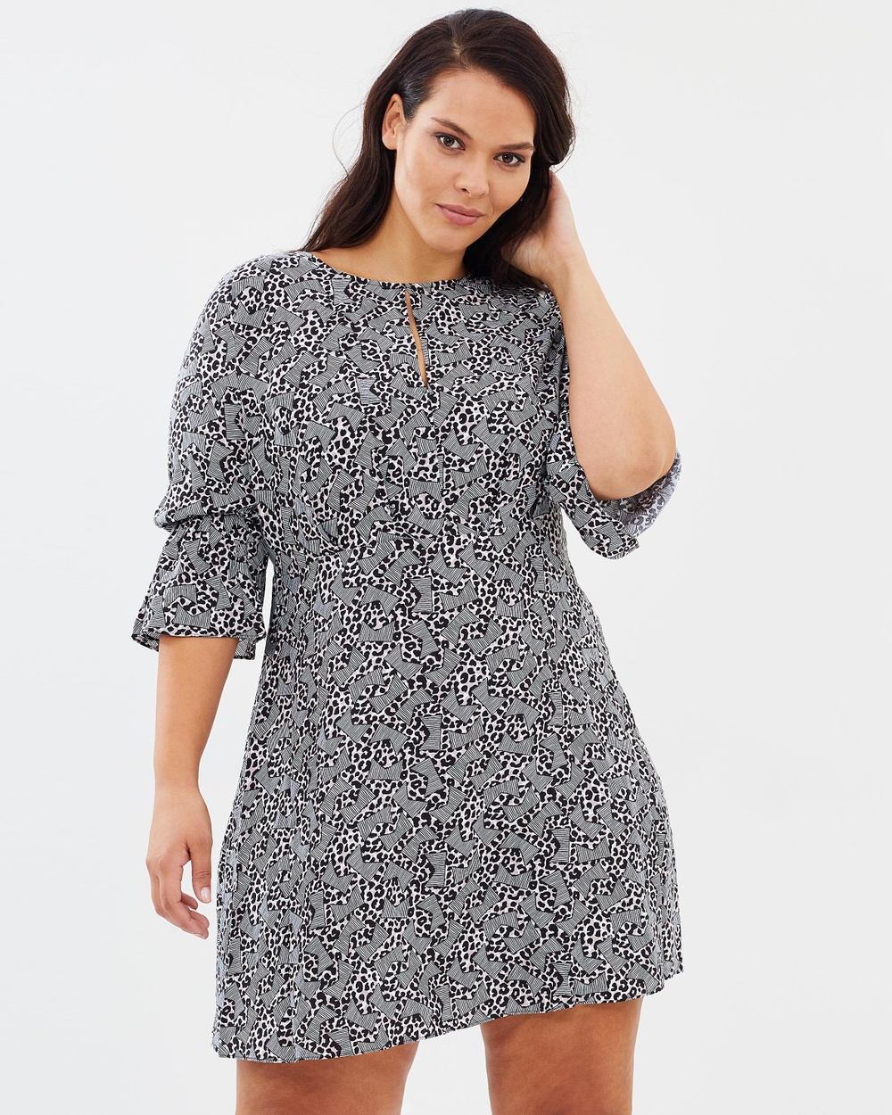 Atmos & Here Curvy ICONIC EXCLUSIVE Coredelia Shift Dress Printed Dresses Geo Animal ICONIC EXCLUSIVE Coredelia Shift Dress
