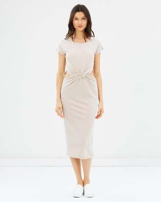 Glamorous – Ready Or Knot Jersey Dress Beige